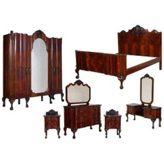 1910s Chippendale Venetian Baroque Revival Bedroom Set in Carved Walnut