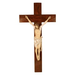 Late 19th Century Polychrome Wood Crucifix Attributable to Vincenzo Cadorin