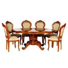 Early 20th Century Baroque Table with Six Chairs Hand-Carved Blond Walnut