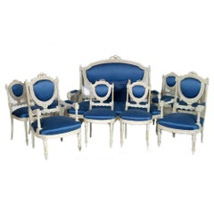 19th Century Sweden Gustavian style living set, Sofa , Armchairs & Chairs