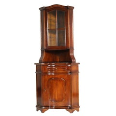 1930s Italian Renaissance Corner Cupboard in Walnut, Restored, Finished to Wax