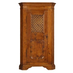 Early 20th Century Tyrol Country Corner Rustic Cupboard Solid Wood Pine Restored