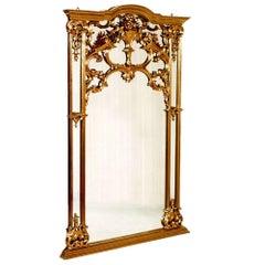 Early 1900s Large Venetian Rococo Mirror by Testolini Salviati Giltwood Walnut