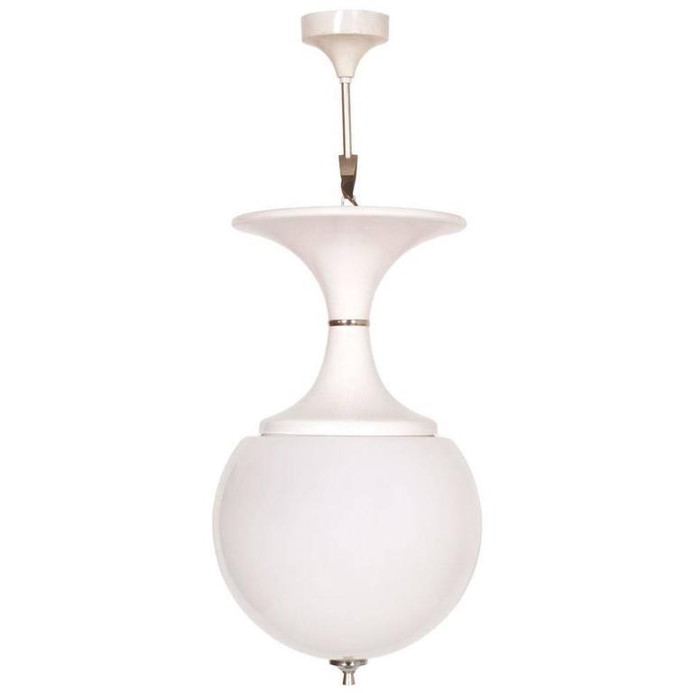 1970s Hanging Lamp by Stilnovo in Enameled Aluminium and Lattimo Murano Glass