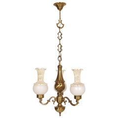 Early 20th Century Baroque Chandelier, Three Lights, Burnished Brass