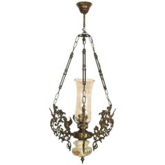 Art Nouveau Chandelier in Bronze, Hand-Painted Bassano Ceramic and Murano Glass