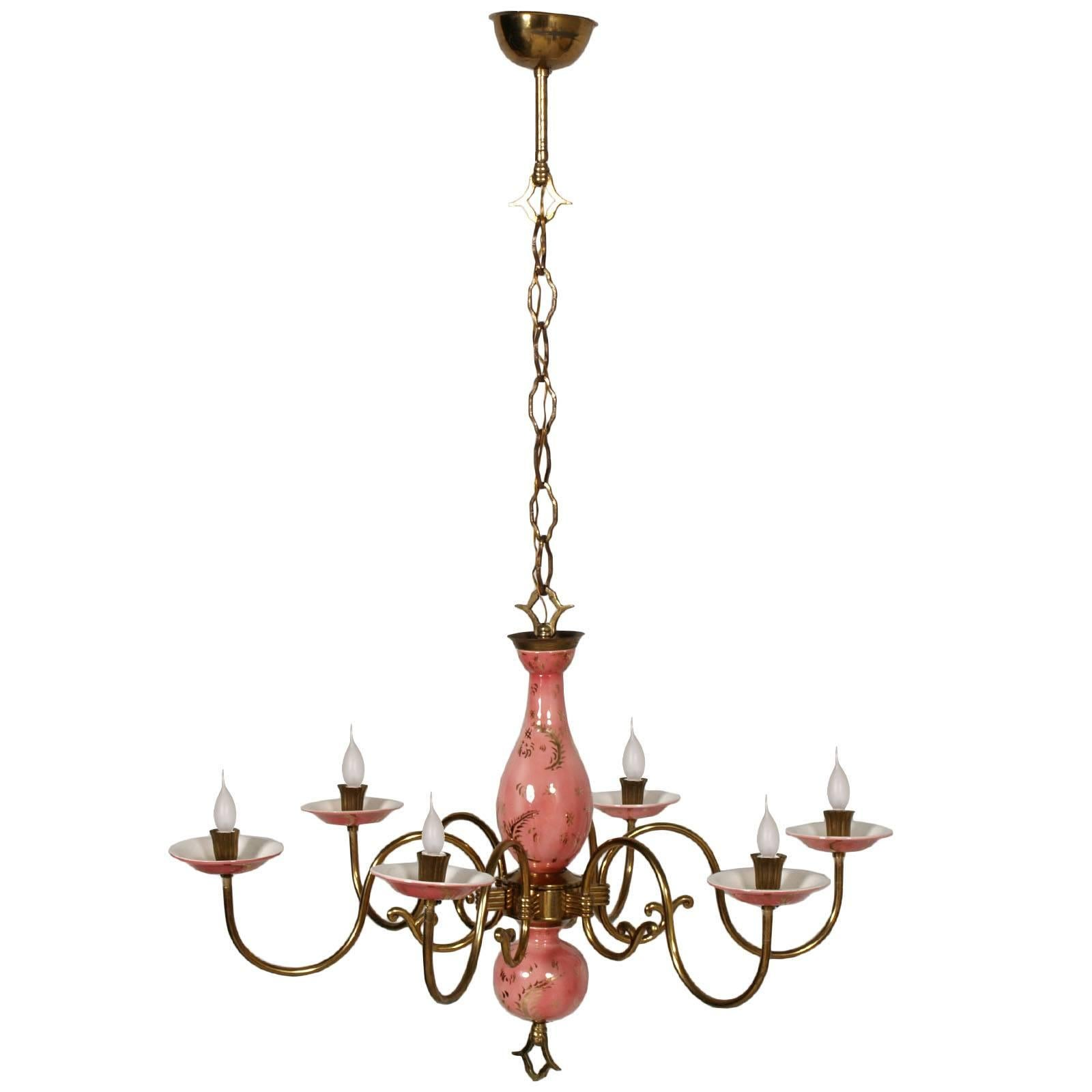 Art deco gilt metal and white and gold glasssix lightcrystal art deco gilt metal and white and gold glasssix lightcrystal teardrop chandelier for sale at 1stdibs arubaitofo Gallery