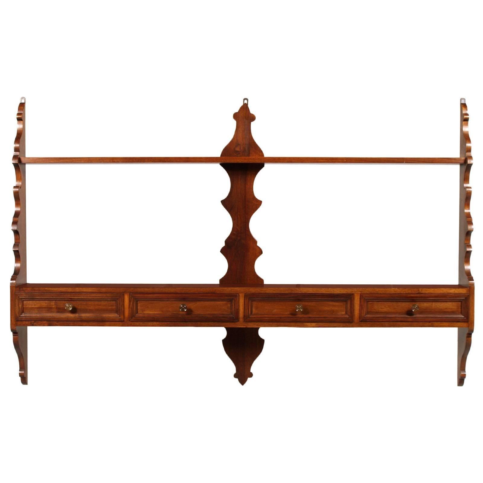 Italian Plates & Pots Rack, Kitchen Shelf, solid Walnut, Dresser 4 Drawers
