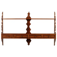 Mid-Century Modern Italian Hanging Plate Rack Shelf in Walnut with Four Drawers