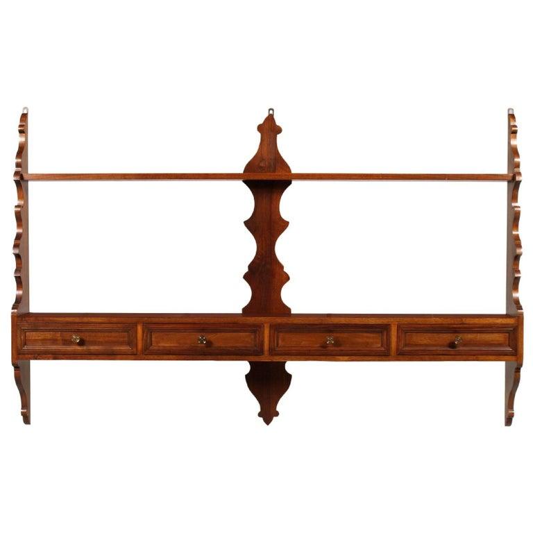 Mid-Century Modern Italian Hanging Plate Rack Shelf in Walnut with Four Drawers