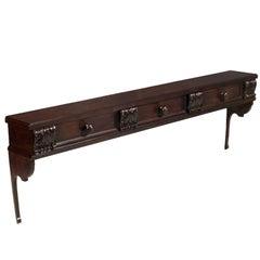 Antique , Italian , Kitchen Shelf Plate and Pot Rack, Walnut, dresser 3  Drawers