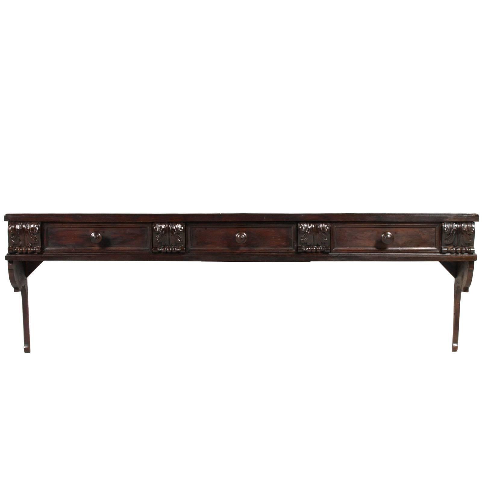 Italian Art Nouveau Shelf Or Hanging Plate Racks, Dark Walnut,