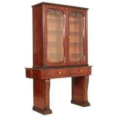 Console Vitrine, Mahogany and Walnut Inlaid and Carved Attributable Paolo Buffa