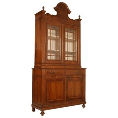 19th Century Louis XV Italy Vetrine Cupboard , Restored , Finished Shellac-Wax