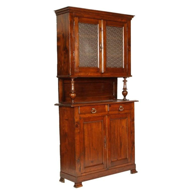 Last 19th Century French Provencal Vetrine Cupboard in Walnut and Pine,  Restored - 19th Century Ohio Walnut And Pine Pie Safe / Cupboard At 1stdibs
