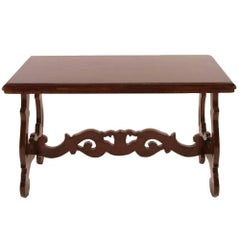 Antique Coffee Centre Table in Walnut, Florentine Renaissance Wax Polished