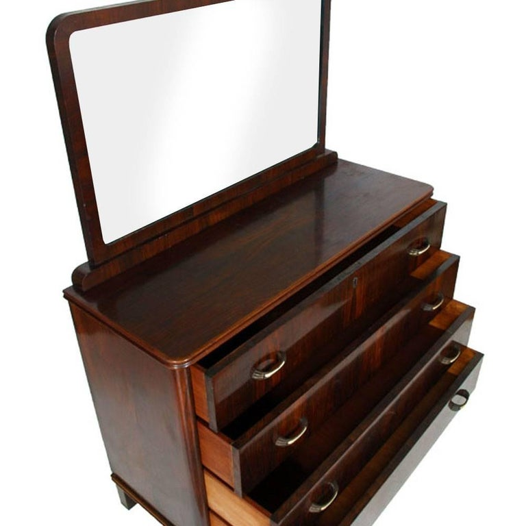 Italian 1930s Art Deco Mirrored Dresser, Commode in Walnut Restored and Polished to Wax For Sale