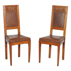 Pair Original Art Nouveau Chairs, Hand-Carved Blonde Cherry, Leather Upholstered