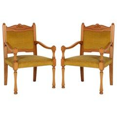 1930s Renaissance Revival Armchair, Beech Wood Upholstery Velvet Ocher