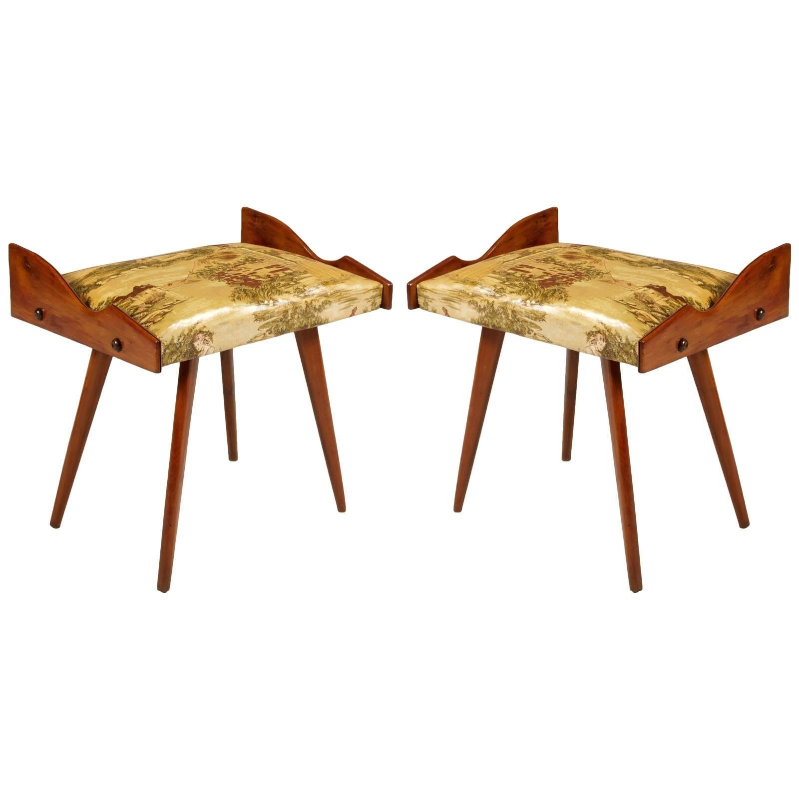 Mid Century Stool Vittori Dassi Style Ebonized Walnut Upholstery Plasticized For