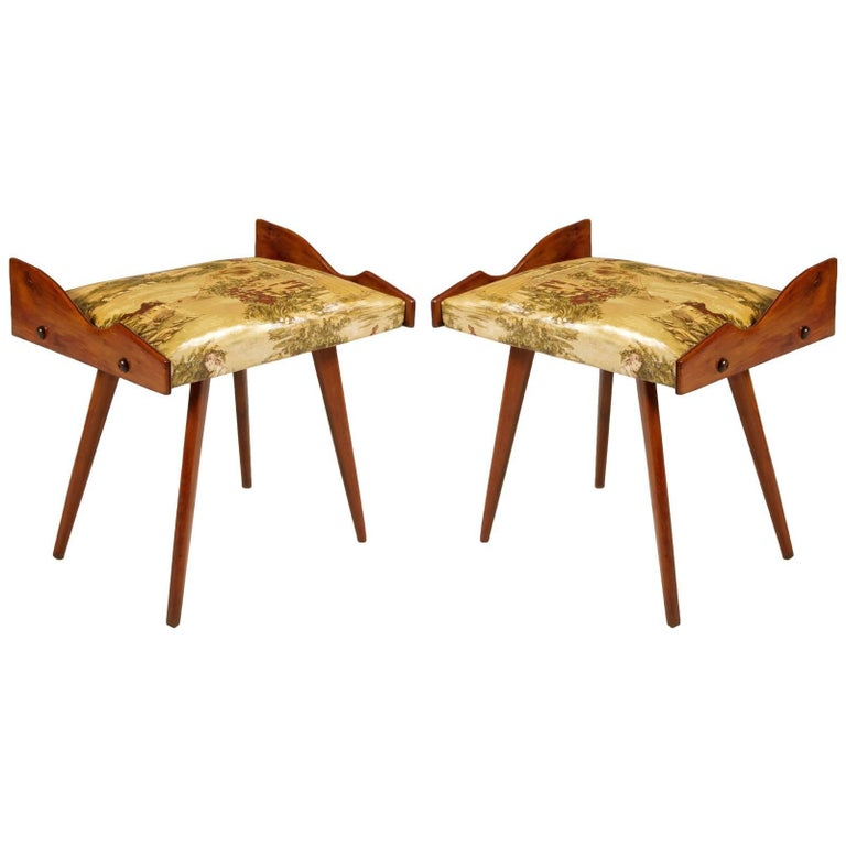 1950s, Pair of Stools, Walnut, Plasticized and Printed Fabric by Ico Parisi