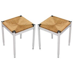 1950s Pair of Stools in Chromed Steel, Straw and Mahogany Van Der Rohe Style