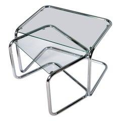 1960s, Mid-Century Modern Crystal and Chrome Nesting Tables Milo Baughman Style