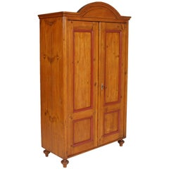 Austrian Tyrol 1830s Wardrobe Cabinet Cupboard in Solid Wood Polished to Wax