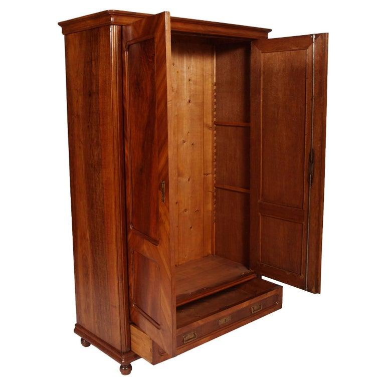 Louis Philippe Library Cabinet, Cupboard In Walnut