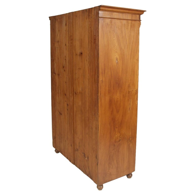 Italian 1850s Antique Neoclassic Cabinet Cupboard, Solid Wood Restored and Wax-Polished For Sale