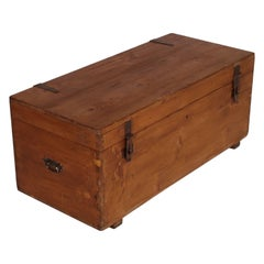 Last 19th Century Traveling Trunk Chest in Solid Wood Restored Polished to Wax