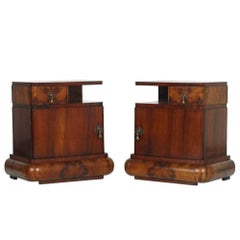 Sculptural Pair of Art Deco Nightstands, Burl Walnut, Gaetano Borsani Attributed
