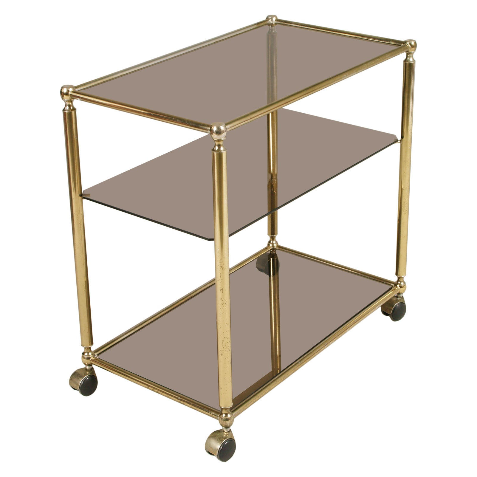 Mid-Century Modern Bar Cart in Brass with Three Shelves in Crystal Fumè
