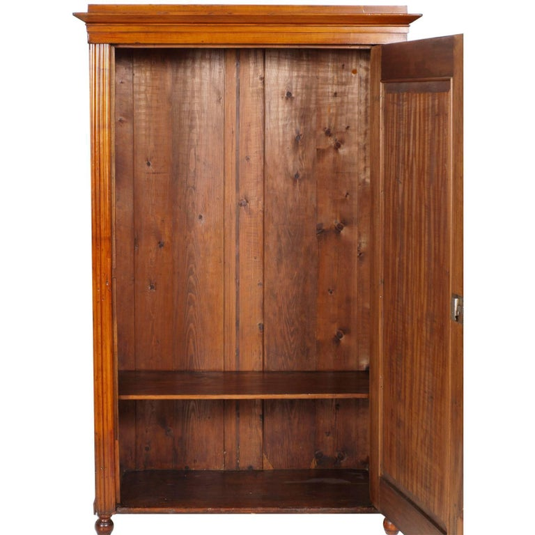 Very rare and hard to find Tyrolean 19th century Biedermeier cupboard wardrobe in birch, restored and polished to wax  Measures cm: H 175, W 110, D 53.