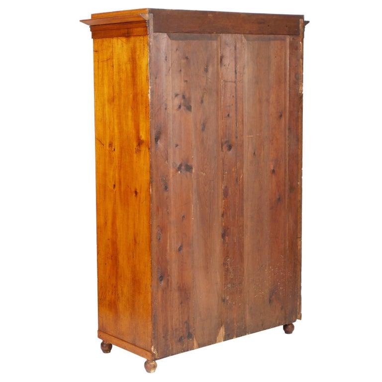 19th Century Biedermeier Cupboard Wardrobe in Birch Restored Polished to Wax In Excellent Condition For Sale In Vigonza, Padua