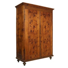 18th Century Country Tyrolean Larch Cupboard Wardrobe Restored and wax-polished