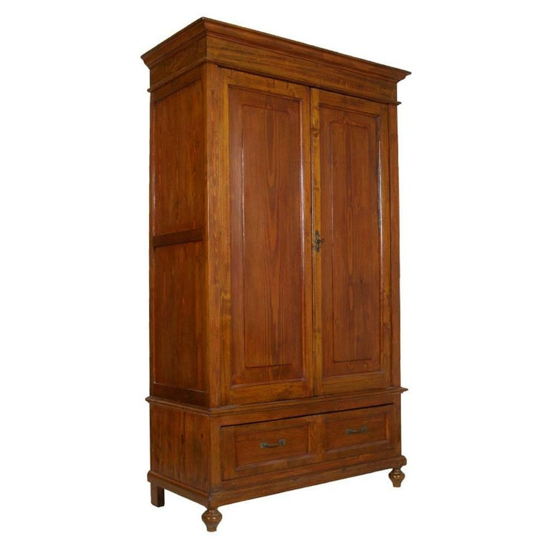 1880s Antique Neoclassic Country Wardrobe Cupboard in Solid Fir with Drawer