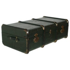 Italian 1920s Green Travel Trunk All Wood and Hemp Canvas