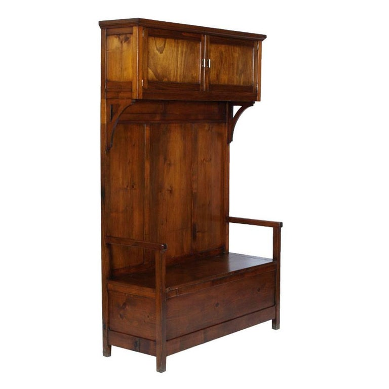 Early 20th Century Art Nouveau Period Chest Bench Entrance Furniture, Solid Fir