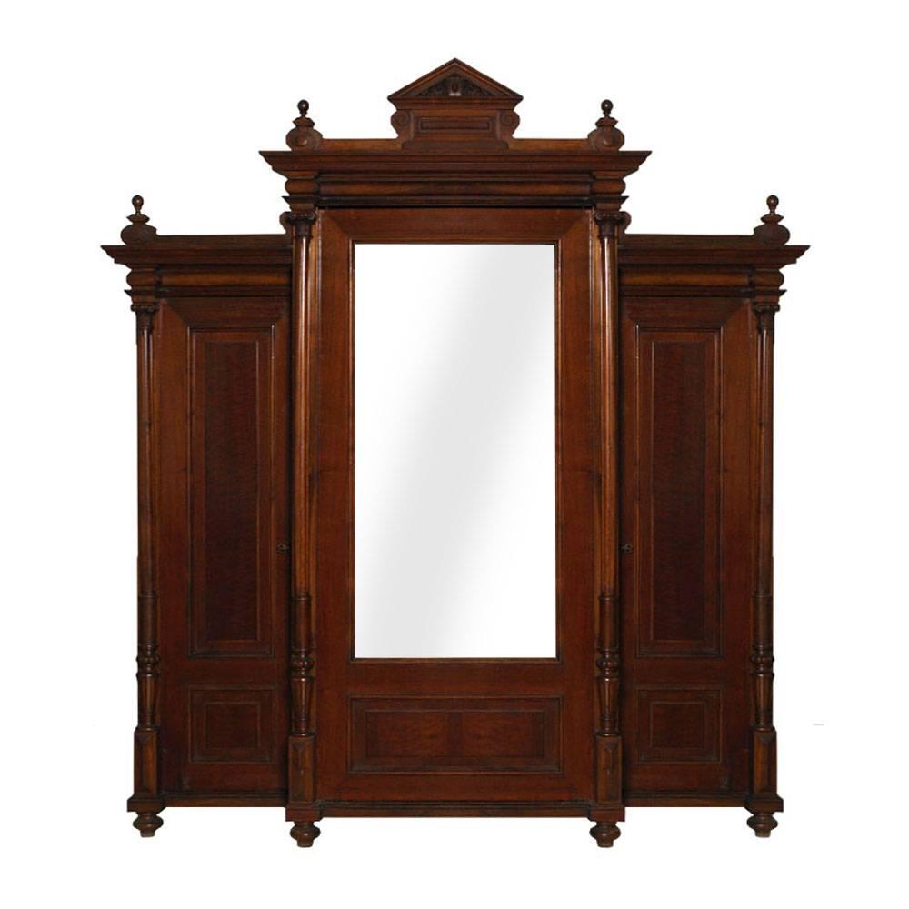 Neoclassic Wardrobe Bookcase, All Solid Walnut, Burl Walnut and Oak Interior