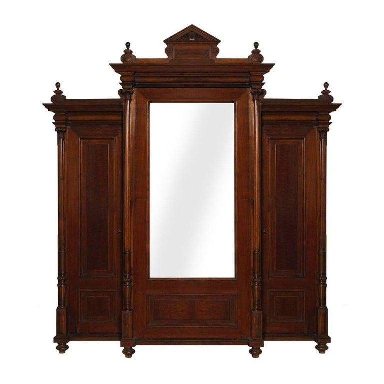 Neoclassic Wardrobe Bookcase, All Solid Walnut, Burl Walnut and Oak Interior For Sale
