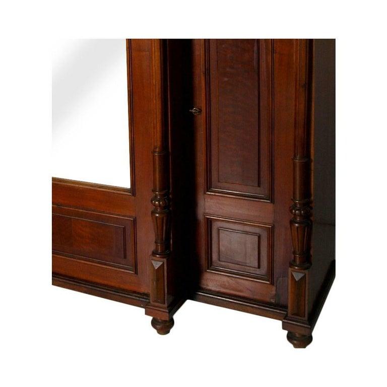 Neoclassical Revival Neoclassic Wardrobe Bookcase, All Solid Walnut, Burl Walnut and Oak Interior For Sale