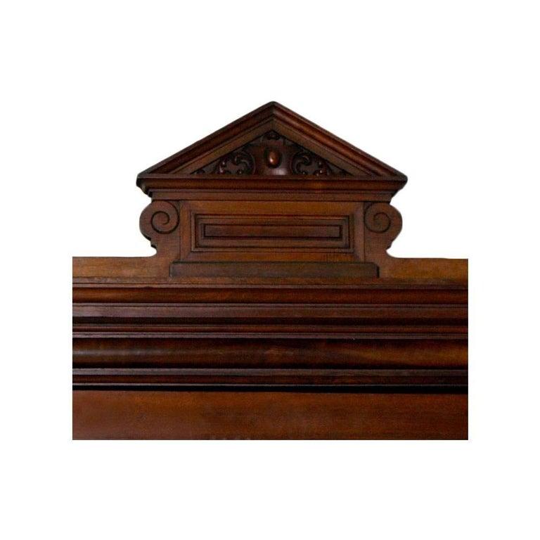 Italian Neoclassic Wardrobe Bookcase, All Solid Walnut, Burl Walnut and Oak Interior For Sale