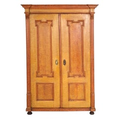 Antique Austrian Neoclassic Wardrobe Cupboard in Massive Wood Laquered Faux Wood