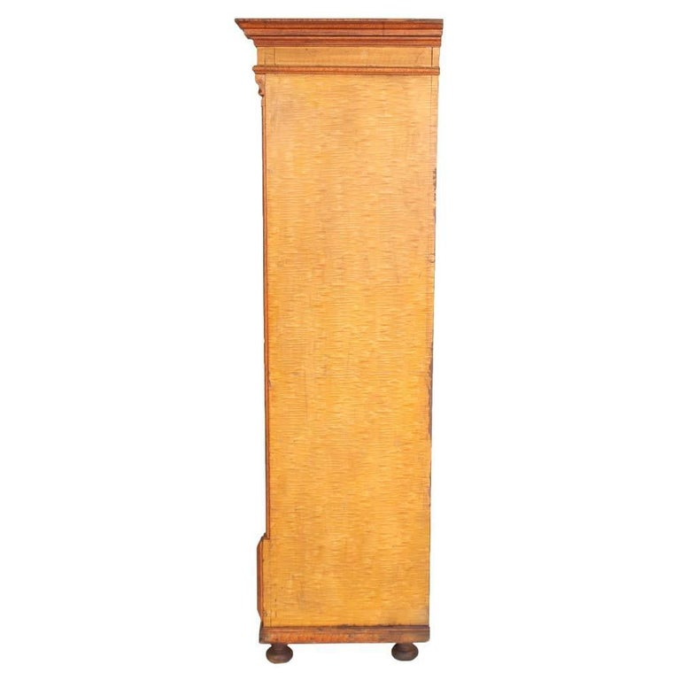 Neoclassical Antique Austrian Neoclassic Wardrobe Cupboard in Massive Wood Laquered Faux Wood For Sale