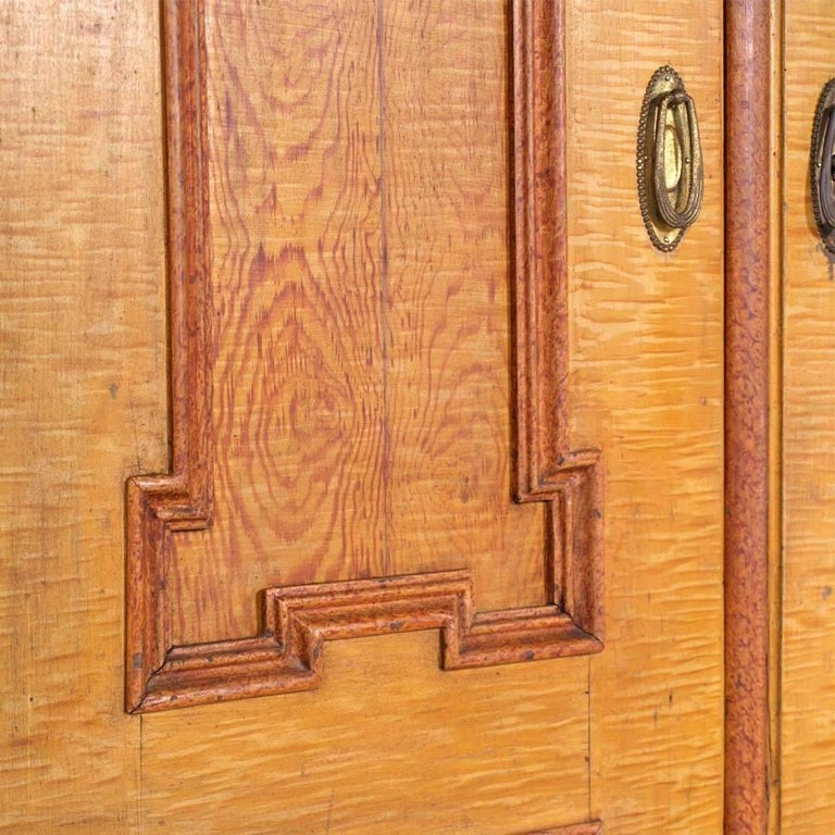 Antique Austrian Neoclassic Wardrobe Cupboard in Massive Wood Laquered Faux Wood In Good Condition For Sale In Vigonza, Padua