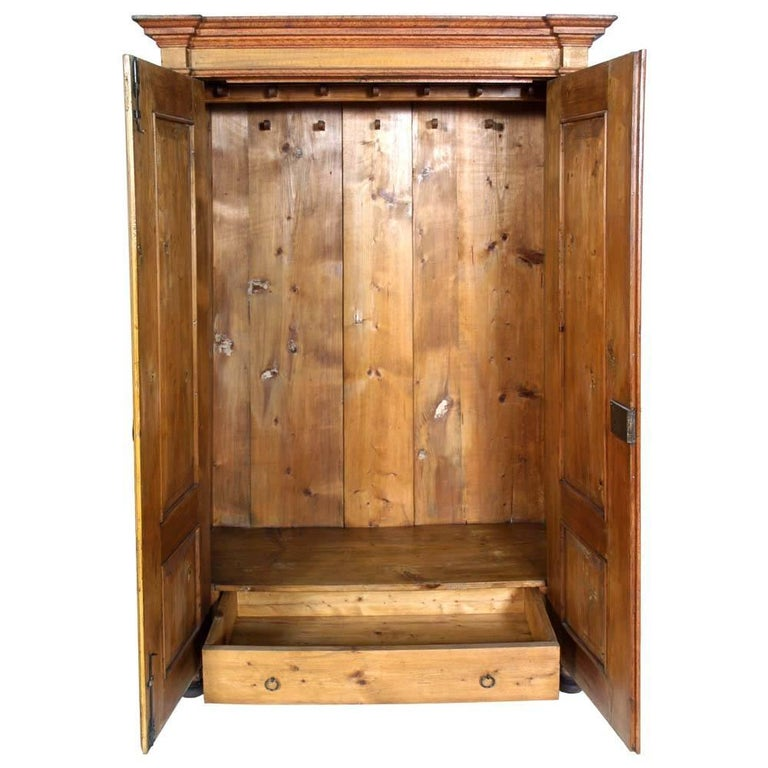 Mid-19th Century Antique Austrian Neoclassic Wardrobe Cupboard in Massive Wood Laquered Faux Wood For Sale