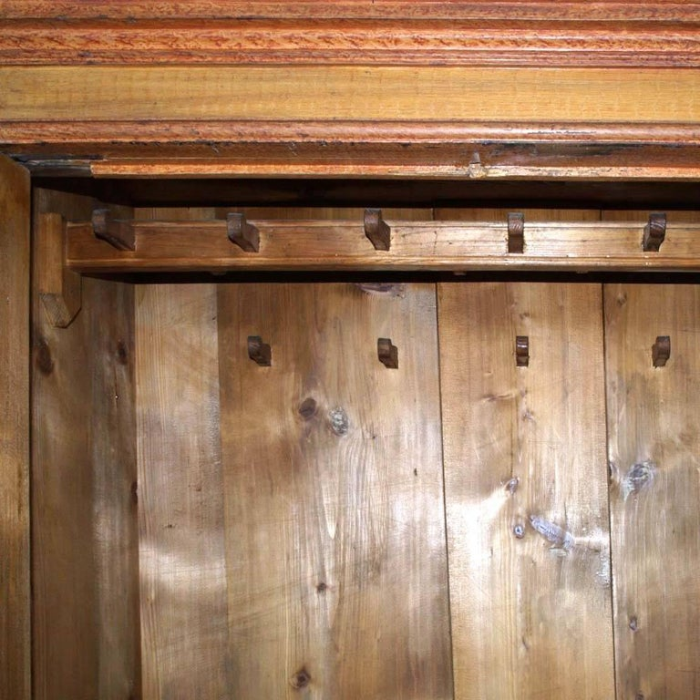 Antique Austrian Neoclassic Wardrobe Cupboard in Massive Wood Laquered Faux Wood For Sale 1