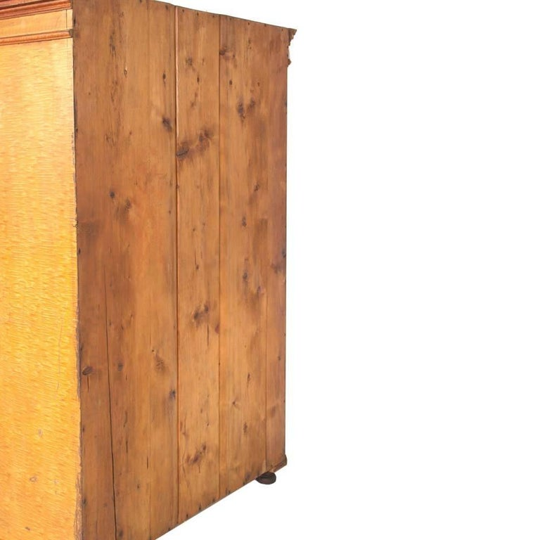Antique Austrian Neoclassic Wardrobe Cupboard in Massive Wood Laquered Faux Wood For Sale 3