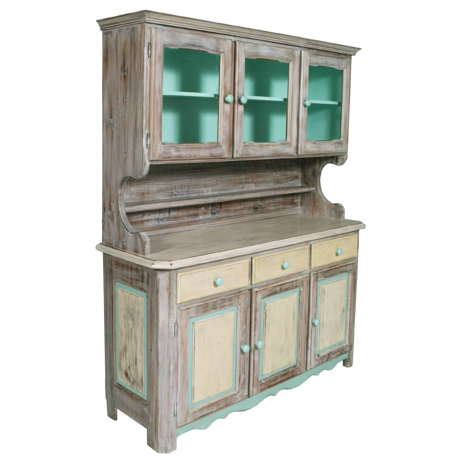 Italian 1940s Country Shabby Buffet Sideboard with Display Cabinet